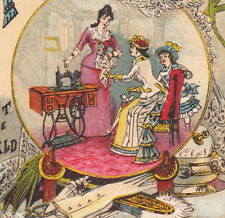 White Sewing Machine 1800's Vintage Lace Powder Box Victorian Advertising Card