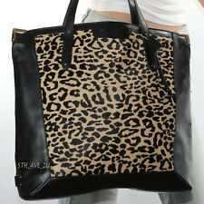 Nwt Coach Black Leather Leopard Ocelot Animal Print Haircalf Tote Bag F33470 New