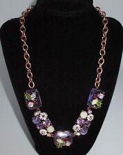 Betsey Johnson NWT $68 Collar Necklace Purple Rhinestone Crystal Enamel Gold