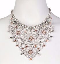NWT BETSEY JOHNSON METALLIC DRAMATIC FLOWER BIB NECKLACE IN MULTICOLOR $125.