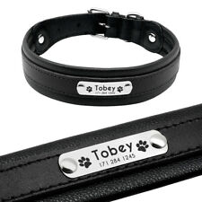 Black Personalised Leather Dog Collar Large for German Shepherd Neck 12-24.5""