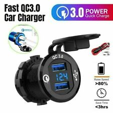 5-12V Car Charger Socket QC3.0 Dual USB Port Volt Display Phone Fast Charging UK