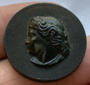 Antique Vintage Carved Horn Picture Button Ladies Head Cameo With Back Mark