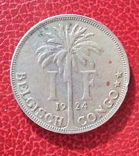 Congo Belge  - Albert Ier - Belgique - Très Jolie monnaie de 1 Franc 1924 VL