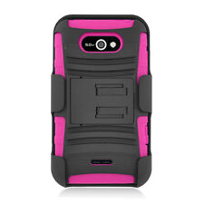 LG Optimus Regard Combo Holster HYBRID KICKSTAND Rubber Case Cover Black Pink