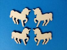 10 NATURAL WOODEN MINIATURE UNICORN CARD MAKING CRAFT EMBELLISHMENTS CLEARANCE