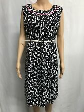 VERS SIZE 14 BLACK AND WHITE WITH PINK TRIM STRETCH COTTON DRESS