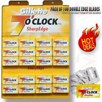 100% GENUINE Gillette 7 O' Clock Sharp Double Edge Shaving Razor Blades Barber