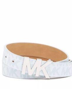 Rare NWT Michael Kors Blue Sky Monogram  Silver Tone Buckle Belt XS