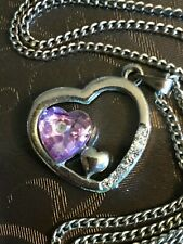 Silver Tone Heart Shaped Pendant with Pink Stone and Rhinestones Necklace