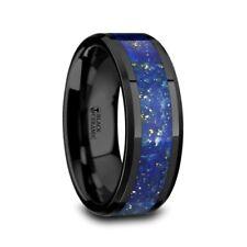 Marlow Polished Black Ceramic Wedding Band Blue Lapis Inlay Beveled Edges