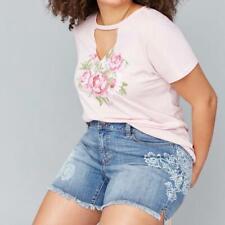 Lane Bryant Denim Girlfriend Jeans Shorts, Floral Detail, Plus Size 20