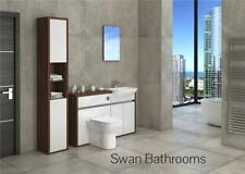 T. WALNUT / WHITE GLOSS BATHROOM FITTED FURNITURE WITH TALL UNIT 1700MM