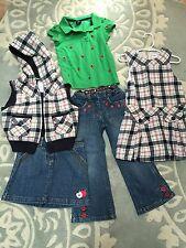 Gymboree Gap 5 Pc Lot Prep School Plaid Dress Vest Apple Shirt Skirt Jeans  4 5
