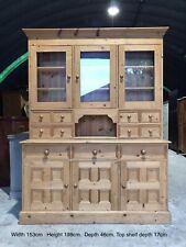 Large Solid Pine 5ft Glazed Welsh Dresser Sideboard Server Cupboard Kitchen Unit