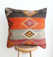 "Handmade Kilim PILLOW CUSHION COVER - Kilim Rug Turkish Anatolian 20"" x 20"""