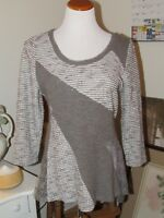 Anthropologie Angel of the North Gray/Ivory Lace Pullover Sweater Size M&L EUC