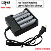 4 Slots Smart 18650 Li-ion Battery AC Charger Rechargeable LED Indicator 1.2A