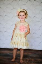 """Giggle Moon """"Fruits of the Spirit"""" Party Dress Pink Yellow Floral Girls Sz 6M"""