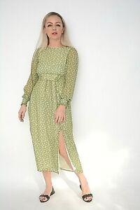 New Women Ex Nobodys Child Green Ditsy Floral Print Chiffon Midi Dress Size 6
