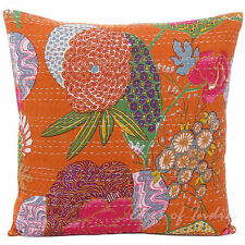 24x24 orange floral decorative Pillow Cover Kantha throw Pillow kantha cushion