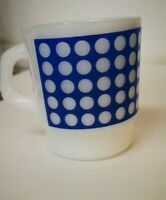 Termocrisa Coffee Cups Mug Blue spots on White Vintage Stackable Milk Glass