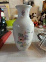 "Vintage Japan RUSS Floral Pansies Porcelain Bud Vase 5"" #4934"