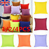 "16"" 1/2/4PC Plain Dyed Luxury 100% Cotton Cushion Cover For Home Sofa Decor Size"