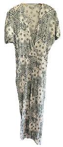PQ PASSIONQ White & Green Paisley Cotton Blend Long Jumpsuit Dress Size Small