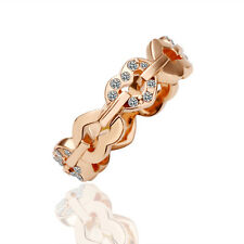 18k Rose Gold Filled Solid Fashion Heart Ring With Swarovski Crystal Size 8