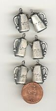 6 Vintage 3-D SILVER OX METAL COFFEE POT Charms 17mm