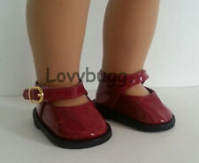 "DEEP RED Patent Mary Janes Dress Shoes for 18"" American Girl Doll Best Selection"