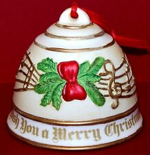 "1992 Roman Inc Musical China Bell ""We Wish You A Merry Christmas� Ornament 3x3½�"