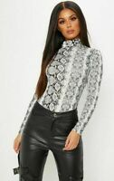 WOMEN LADIES ANIMAL LEOPARD SNAKE PRINT TURTLE NECK LONG SLEEVE TOP SIZE 8-26