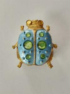 Vintage Gold Toned Baby Blue Beetle Bug Boston Green Stones Clip No 1