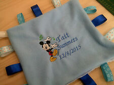 personalized with yr childs details name / birth date mickey taggie blankets