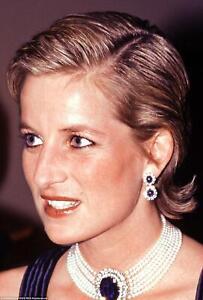"""Princess Diana 4 Row Chocker Necklace Diamond/Sapphire Replica Pendant 15"""""""
