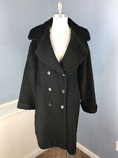 Vintage Escada 36 S M Black Wool Alpaca Long Swing Coat double breasted 80's