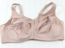 Glamorise 1265 Magic Lift Bra 44C Posture Back Wirefree Front Closure Nude