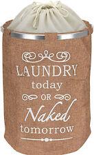 Pop Up Vintage Retro Laundry Basket Canvas Material Fun Dirty Washing Hamper