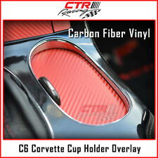 C6 Corvette Cup Holder Drink Cover Overlay Decal Red Carbon Fiber 2005-2013