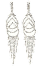 CLIP ON EARRINGS - silver chandelier earring with clear crystals - Cael S