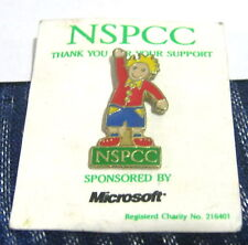 Great advertising push pin badge NSPCC Charity sponsored by Microsoft