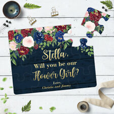 Will You Be my Flower Girl Dark Blue Rustic Floral Puzzle Proposal Gift - 132