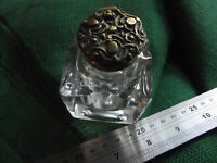Chunky antique brass topped glass inkwell