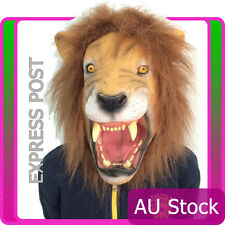Angry Lion Mask Head Halloween The Party Facial Latex Animal Zoo Cosplay King