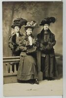RPPC Lovely Victorian Women in LARGE HATS & MUFFS Studio Real Photo Postcard P9