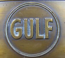 1930s GULF Sign Embossed Brass Gas Oil Award Safety Service Pleasant Motoring