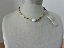 Barse Genuine Amazonite Multi Beads and Sterling Silver Necklace