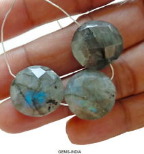 39.30 Cts/3 Pcs Blue Shine Faceted Labradorite Approx 16mm Round Coin with Hole